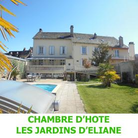 A Saint Côme d'Olt, les Jardins d'Eliane, chambres d'hôtes avec piscine, accueille les pèlerins du Saint Jacques de Compostelle.
